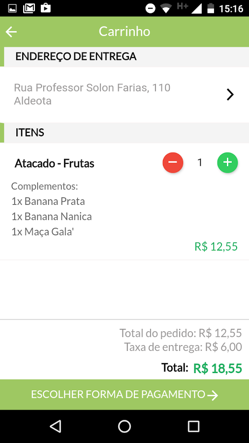 Hortti Mais: captura de tela