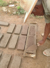Photo: We made and filled our own decorative #adobe bricks.  Dried in the sun; on site.