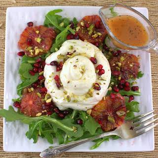Burrata Salad with Blood Orange, Pistachio and Pomegranate.
