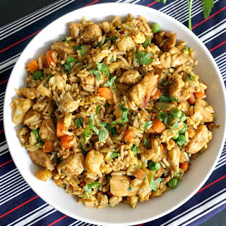 Healthy Chinese chicken egg fried rice.