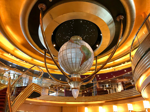 A Waterford crystal globe atop the three-deck atrium on ms Oosterdam.