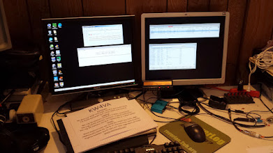 Photo: 146/223/446 MHz FM station. Kenwood TM742A @ 50w (remote head mounted to monitor)