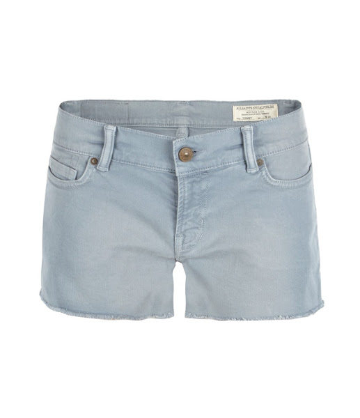 Photo: Prism Lowe>>  UK>http://bit.ly/LqGT8F US>http://bit.ly/MarAlC  5 pocket, powder blue hot pant shorts made using European sourced bull stretch denim. The Prism Lowe has been garment dyed to achieve SS12 colour levels with a worn in vintage wash with highs and lows. The garment features signature profile stitch on back spade pockets, laundered leather patch and signature AllSaints rusty metalwork.
