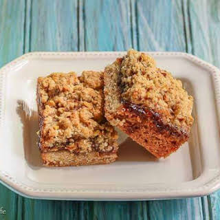 Strawberry Rhubarb Crumble Bars with Pistachios.
