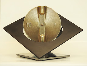 Photo: LUNAR BUTTERFLY -11H X 17W X 14D Found Object (Reclaimed Butterfly Valve Bronze Disc), Stainless Steel, Polished and Painted Mild Steel, Interactive Kinetic, Front View