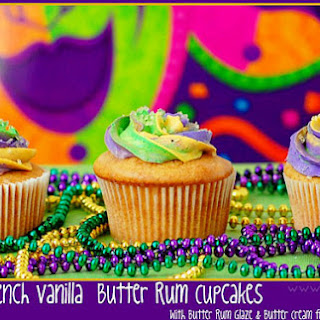 French Vanilla Butter Rum Mardi Gras Cupcakes