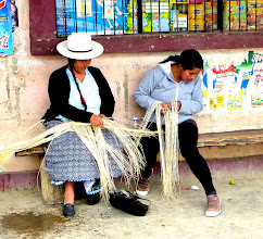 Photo: Women are weaving anywhere in town, sitting or walking