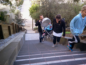 Photo: A warm winter day brought a steady stream of visitors to the Hidden Garden Steps (16th Avenue, between Kirkham and Lawton streets in San Francisco's Inner Sunset District) on Saturday, February 21, 2014.  For more information about the Steps, please visit our website (http://hiddengardensteps.org), view links about the project from our Scoopit! site (http://www.scoop.it/t/hidden-garden-steps), or follow our social media presence on Twitter (https://twitter.com/GardenSteps), Facebook (https://www.facebook.com/pages/Hidden-Garden-Steps/288064457924739) and many others.