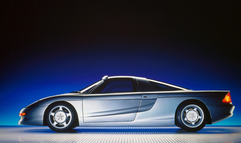 Photo: Our next gullwing concept car debuted in 1991, the mid-engine C112. Like its predecessor, it never went into production, but kept the alphanumeric names going while testing and refining new technologies like improved ABS systems, anti-skid control, what's known now as Active Body Control, plus active aerodynamics.