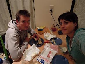 Photo: první večeře v novém bytě - opět bageta, jsem nadšen