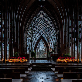 Cooper Chapel in the Dark by Jennifer  Loper  - Buildings & Architecture Places of Worship ( pews, christmas lights, window, garlands, poinsettias, arches )
