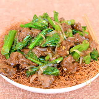 Beef with Chinese Broccoli Recipe Over Crispy Noodles