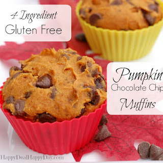 4 Ingredient Gluten Free Pumpkin Chocolate Chip Muffins