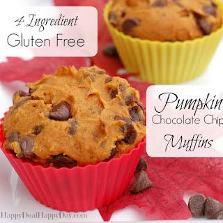 4 Ingredient Gluten Free Pumpkin Chocolate Chip Muffins.