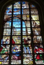 Photo: Die Goudaer Glasfenster 2:  Fenster XII, Detail: Die Geburt Jesu. (1564)