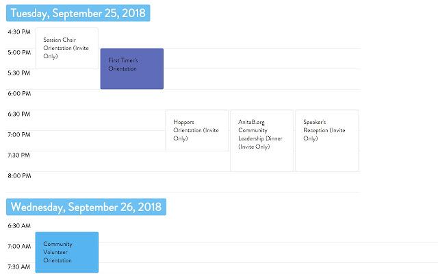 Grace Hopper 2018 Calendar View