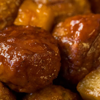 Slow Cooker Pineapple Barbecue Meatballs.