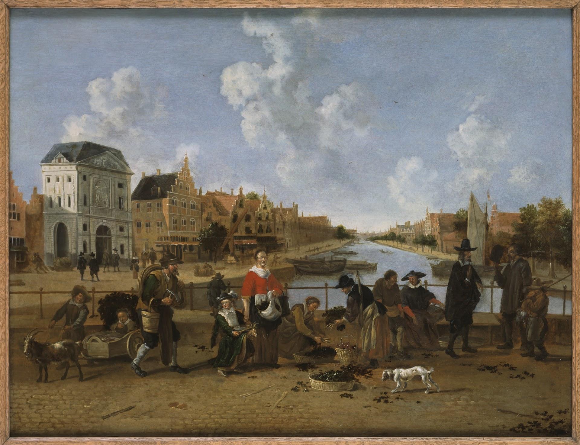 De Groenmarkt met gezicht op de Stille Rijn in Leiden, 1660.