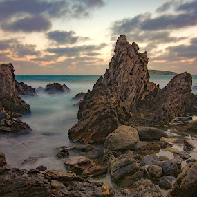 smooth motion by Nicole Rix - Landscapes Waterscapes ( water, waterscape, clouds and sea, seascape, rock formation )