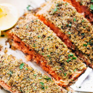 Crunchy Garlic Lemon Pepper Baked Salmon.