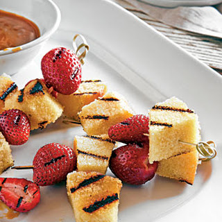 Grilled Berries and Pound Cake with Bourbon-Butterscotch Sauce.
