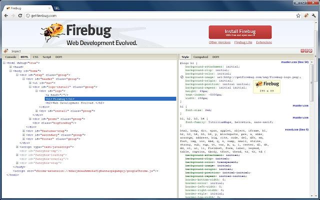 Firebug chrome extension