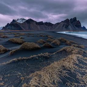 Vestrahorn Storm, Iceland by Sandra Woods - Landscapes Mountains & Hills ( iceland, sunset, vestrahorn, beach, black sand, storm )