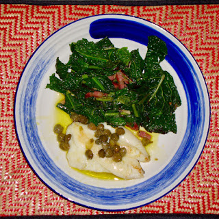 John Dory Fillets with a Caper and Lemon Sauce and Stir Fried Kale with Pancetta.
