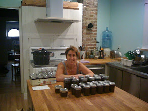 Photo: Canning fig jam, from the Mission Fig Tree in the backyard, in the old farmhouse kitchen - I taught my friend Jesikah this old art of food preservation.