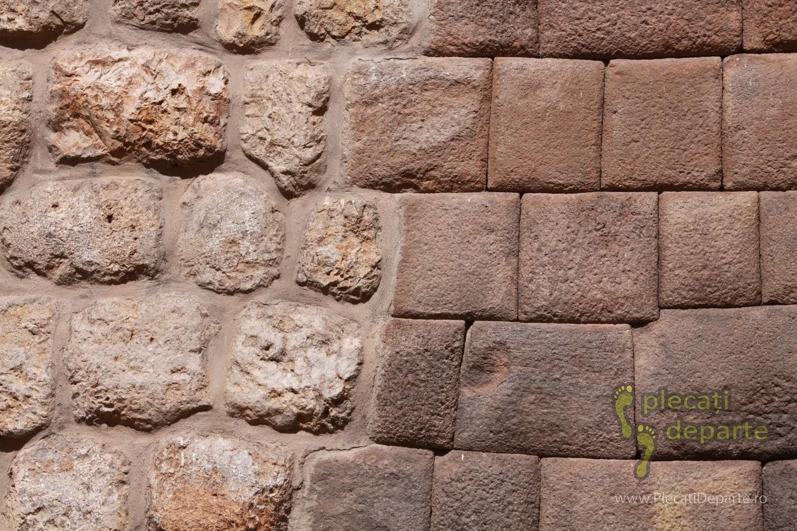 detaliu comparativ zid modern si zid incas