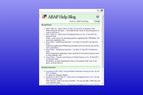 ABAP Help Blog by Naimesh Patel