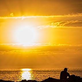 Watching the sunrise by Peter Louer - Landscapes Waterscapes ( tenerife landscape, dawn, seascape, sunrise, sun )