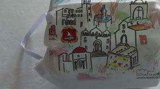 Mascarilla con los monumentos del municipio.
