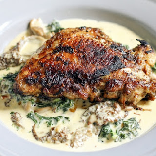 Crispy Chicken Thighs with Morel, Ramp & Kale Cream Sauce