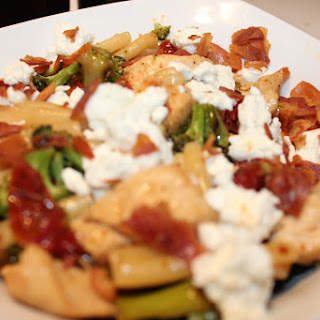 Roasted Vegetable Pasta with Goat Cheese & Chicken