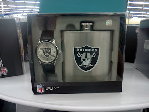 Photo: As we approached the register I looked over and saw this Raiders gift set. It would be a nice for my husband but he doesn't drink much.