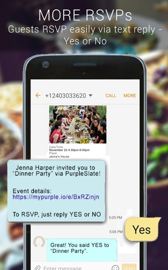 Text Invitations - PurpleSlate- screenshot