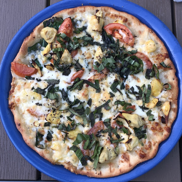 Amazing gluten free pizza! This crust is the best ever.