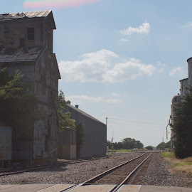 In the Past  by Jeff Brown - Transportation Railway Tracks ( railroad tracks, transportation, tracks, past, trains )