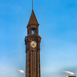 Lackawanna Railroad Clock Tower at Dusk by Carol Ward - City,  Street & Park  Historic Districts ( clock tower, railroad, dusk, historic, lackawann railroad terminal, new jersey )