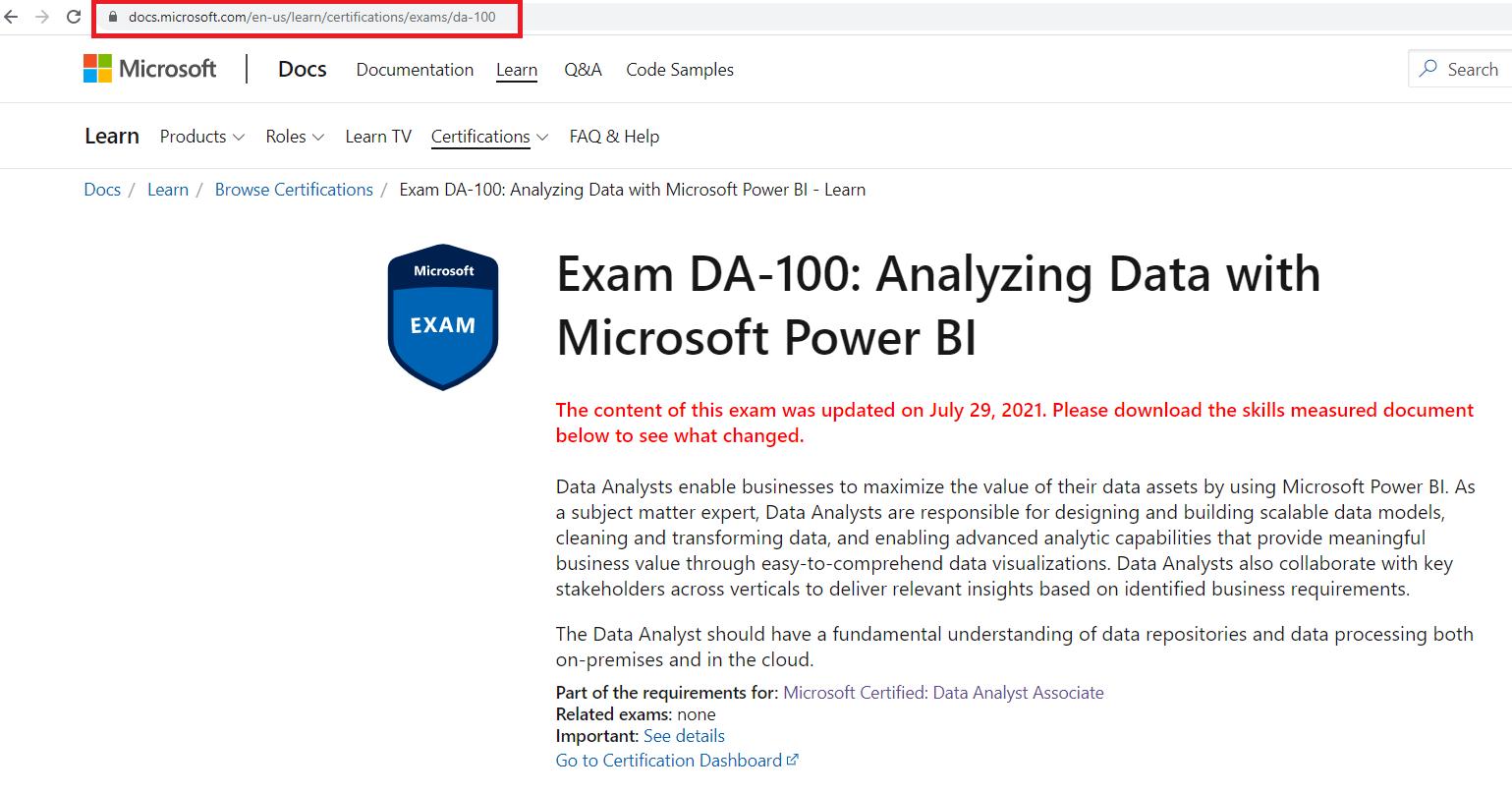 Page đăng ký thi DA-100