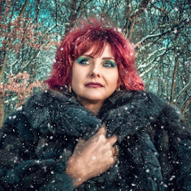 Winter by Alexandru Tache - People Portraits of Women ( love, forest, woman, sexy, tree, winter, portrait, people, cute, smile, red, outdoor, beautiful, mountain, white, light, model, photography, wildlife )