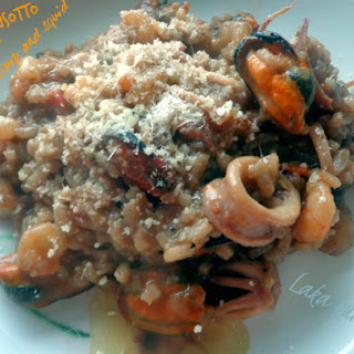 Creamy Risotto With Mussels, Shrimp And Calamari.