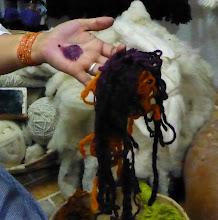 Photo: Baking soda added makes dark purple dye