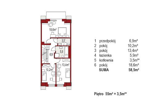 Diana A segment środkowy - Rzut piętra