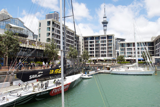 Viaduct-Harbour-Americas-Cup-boat - An America's Cup boat in Viaduct Harbour, Auckland, New Zealand.