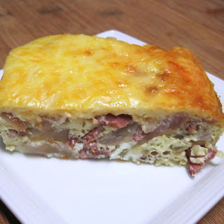 Onion, Cheese and Bacon Quiche.