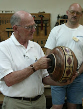 "Photo: Stan Sherman - 12"" segmented vessel of ebony, Bolivian rosewood, purple heart, and maple."