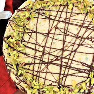 White Chocolate Pistachio Cheesecake.