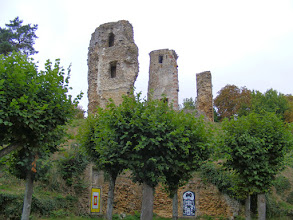 Photo: Little remains of the hilltop castle except these fragments of its walls.